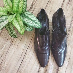 Aquatalia Black Patent Leather Booties Sz 8